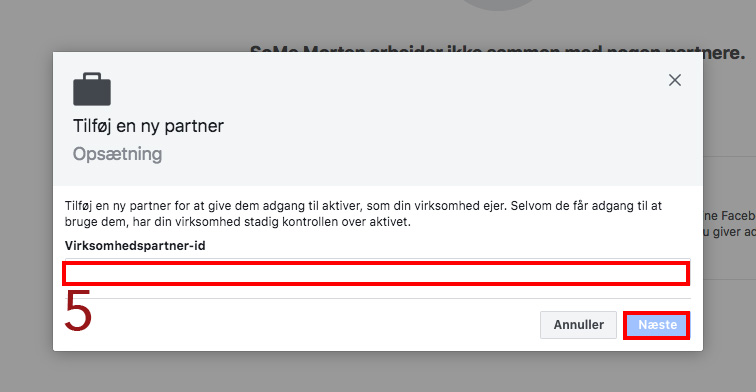 Tilføj en Facebook partner til Facebook businessmanager 5